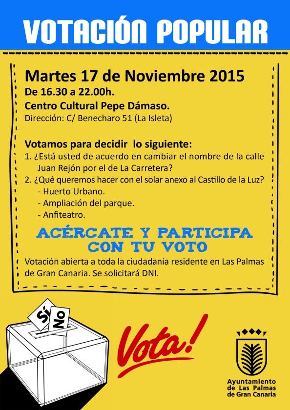 Papel informativo repartido en el barrio sobre la votación...